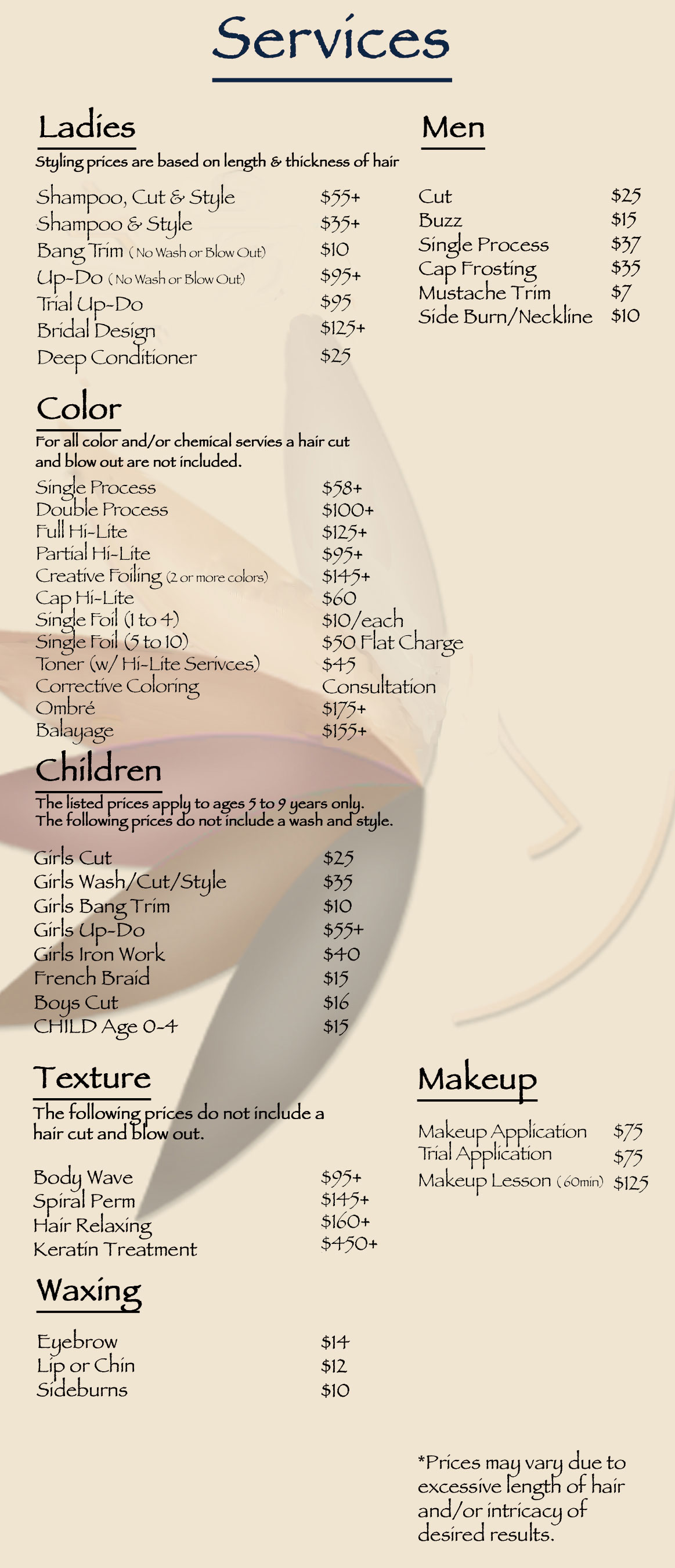 Our Service Price List